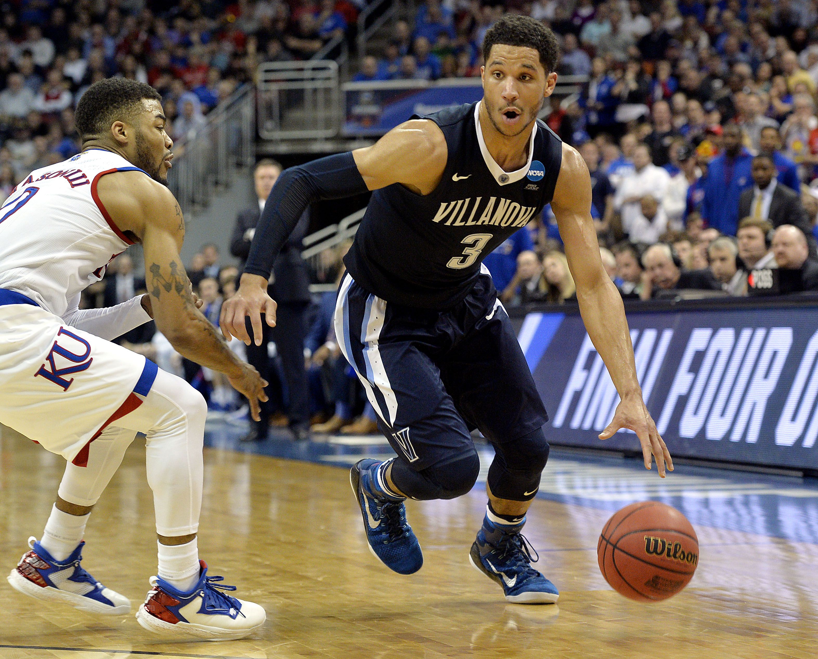 new product 6befe c7eb7 ... Wildcats guard Josh Hart (3) drives to the basket against Kansas  Jayhawks guard Frank Mason III (0) during the second half of the south  regional ...